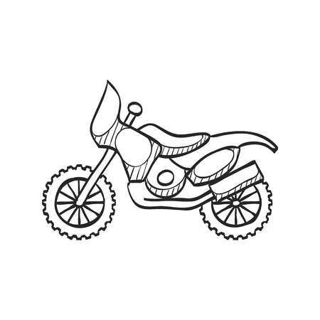 Motocross icon in doodle sketch lines. Rally offroad desert extreme sport outdoor