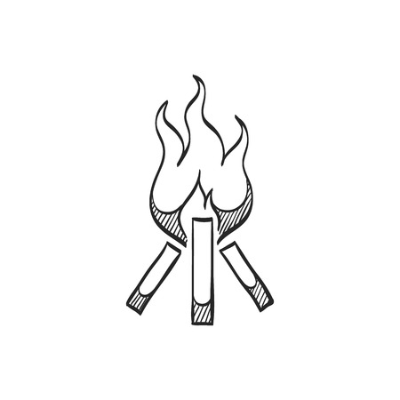 danger: Camp fire icon in doodle sketch lines. Camping burn heat wild fire