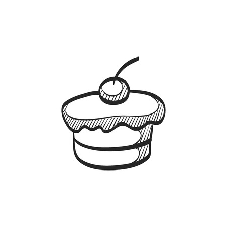cupcake illustration: Cake icon in doodle sketch lines. Food sweet delicious glazed chocolate dessert