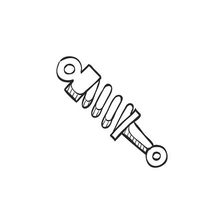 motor car: Shock absorber icon in doodle sketch lines. Transportation motorcycle bike parts pressure mechanical