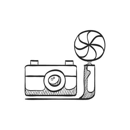 smart: Old camera icon in doodle sketch lines. Photography picture electronic imaging vintage analog film