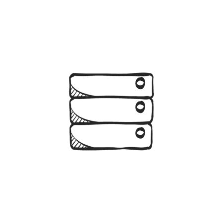 Database  icon in doodle sketch lines. Hardisk, file server
