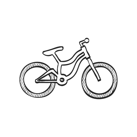 Mountain bike icon in doodle sketch lines. Sport transportation explore distance endurance bicycle suspension