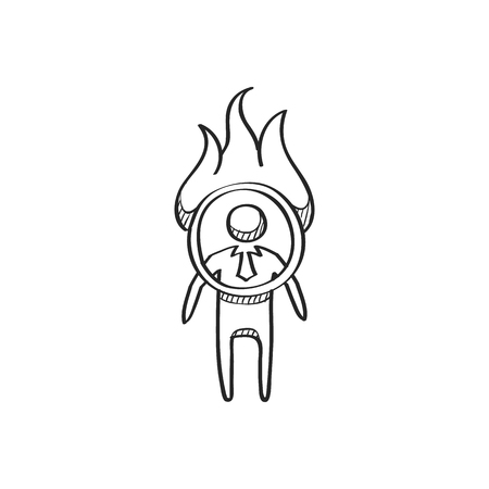 Businessman challenge icon in doodle sketch lines. Extreme business  adrenaline Illustration