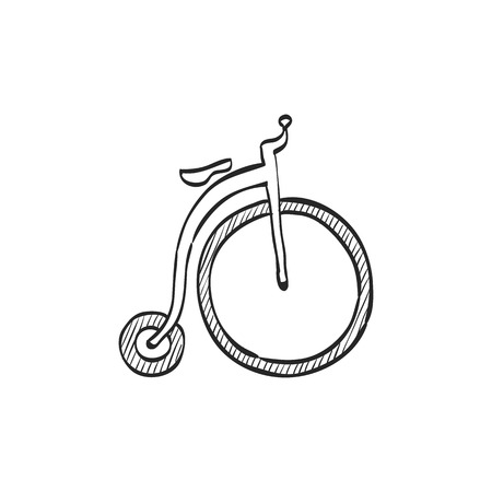 farting: icon in doodle sketch lines. Transportation sport vintage old retro bicycle