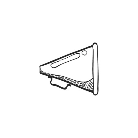 website buttons: Loudspeaker icon in doodle sketch lines. Loudspeaker scream movie director Illustration