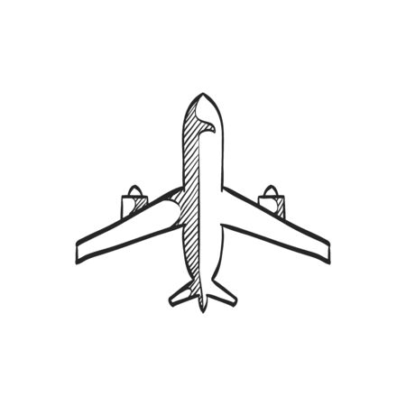 Airplane icon in doodle sketch lines. Aviation transportation travel passenger commercial