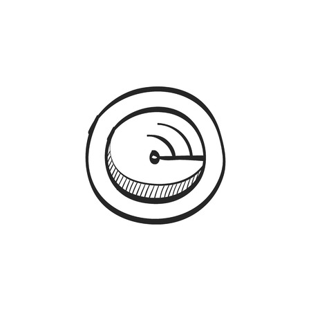 waves: Radar icon in doodle sketch lines. Instrument detector military enemy threat distance calculation