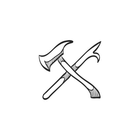 security symbol: Fireman tools icon in doodle sketch lines. Department firefighter service emergency rescue badge