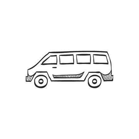 delivery truck: Car icon in doodle sketch lines. Van truck delivery vehicle automobile