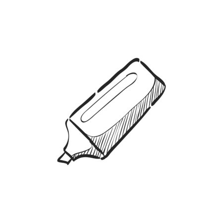 High light pen icon in doodle sketch lines.