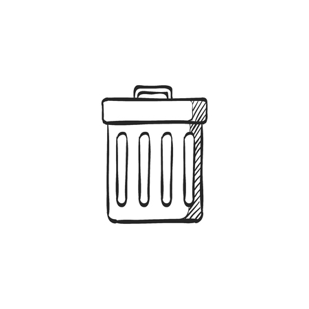green environment: Recycle trash can icon in doodle sketch lines. Environment ecology eco friendly reusable