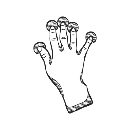 track pad: Finger gesture icon in doodle sketch lines. Gadget touch pad display smartphone laptop computer Illustration