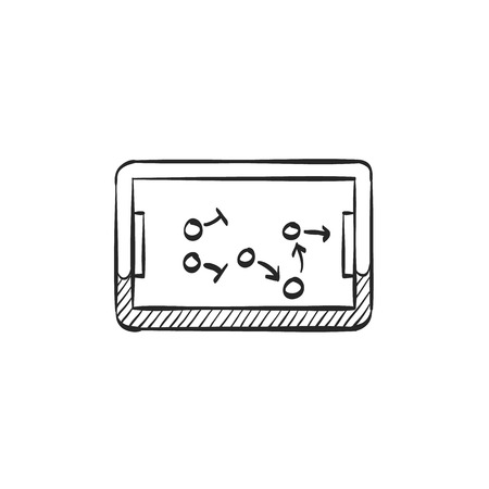 arrow icon: Chalkboard with arrow doodle icon in doodle sketch lines. Game sport tactic coaching playing strategy Illustration