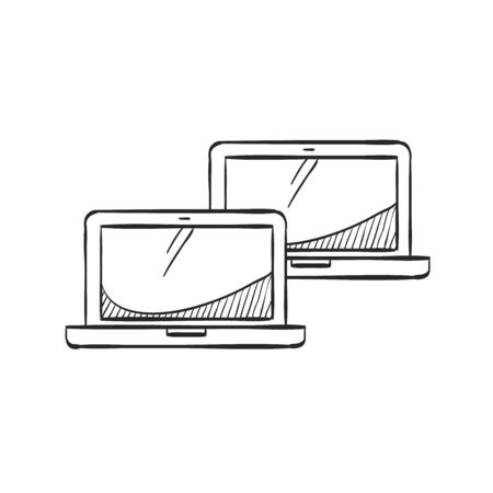 screen: Laptops icon in doodle sketch lines. Electronic computer network connection internet intranet local area Illustration