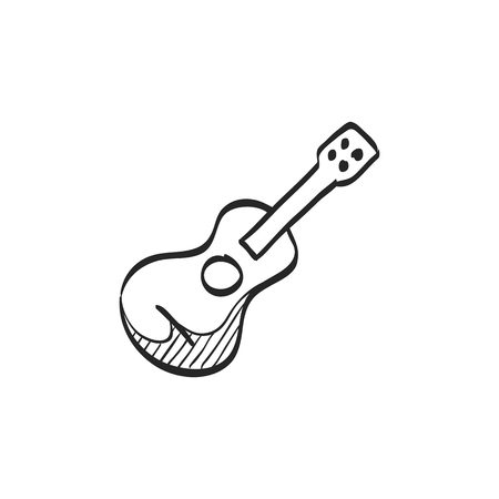 line drawings: Guitar icon in doodle sketch lines. Music instrument string sound Illustration