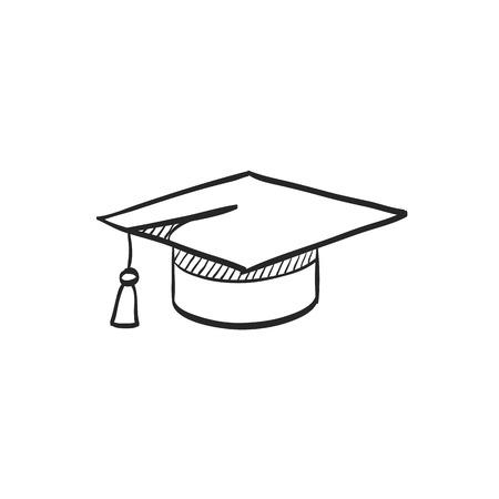 Graduation Hat Symbol in Doodle Skizze Linien . Ausbildung Student Mikroskop Diplom Diplom