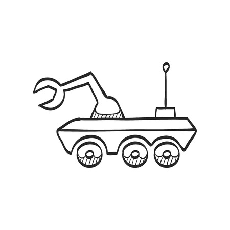 vehicle icon: Space rover icon in doodle sketch lines. Vehicle, exploration, planet surface