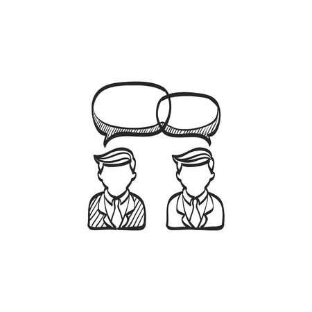 communication icons: Chat sign icon in doodle sketch lines. Communication conversation social business media global