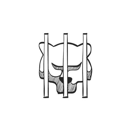 quarantine: Caged animal icon in doodle sketch lines. Bear carnivore mammal zoo jungle hunter quarantine