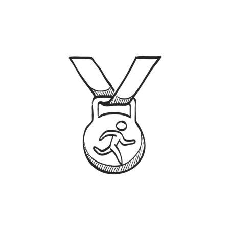finisher: Athletic medal icon in doodle sketch lines. Sport sprinter triathlon marathon prize