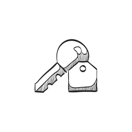 secure: Key icon in doodle sketch lines. Safety protection house home property hotel accommodation travel