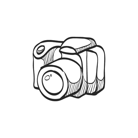 photo: Camera icon in doodle sketch lines. Digital photography professional photographer SLR