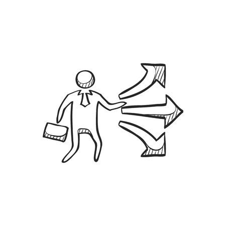 jobs: Businessman choice icon in doodle sketch lines. Business option career arrows direction