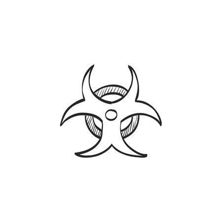 Biohazard symbol icon in doodle sketch lines. Science technology biology environment hazard danger