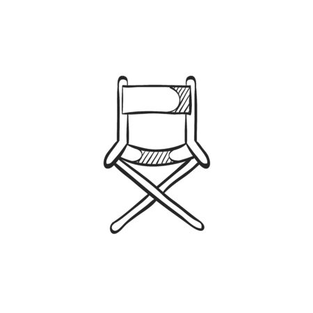 movie film: Movie director chair icon in doodle sketch lines. Industry entertainment Hollywood cinema