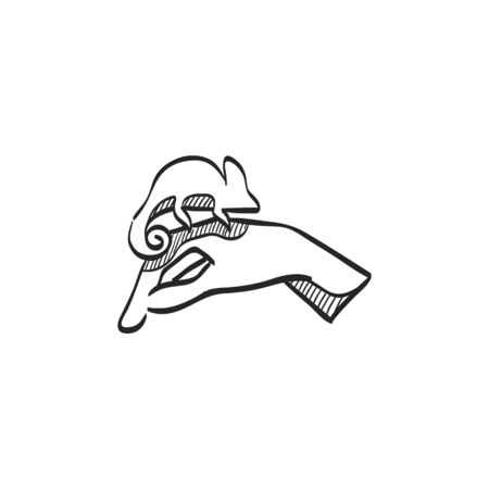 Animal care icon in doodle sketch lines. Chameleon zoo jungle human feeding Illustration