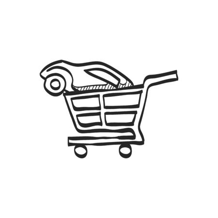 car: Car shopping icon in doodle sketch lines. Business automotive auto buying retail sale