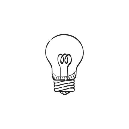 lamp light: Light bulb icon in doodle sketch lines. Idea inspiration electricity light