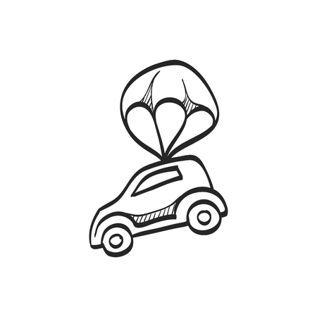 Car parachute icon in doodle sketch lines. Insurance protection investment transportation
