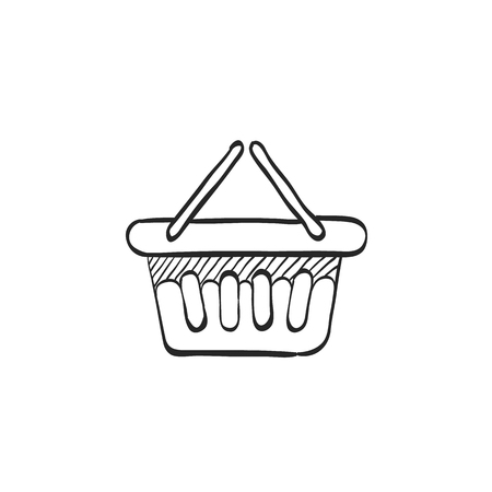 gift basket: Shopping basket icon in doodle sketch lines. Buying, ecommerce