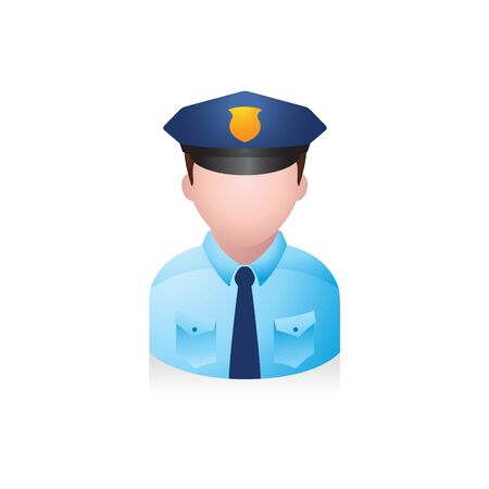 Police officer avatar icon in colors. Illustration