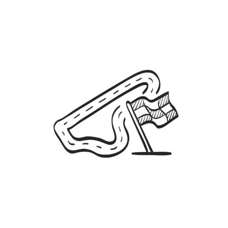 flag: Race circuit icon in doodle sketch lines. Sport transportation driving lane