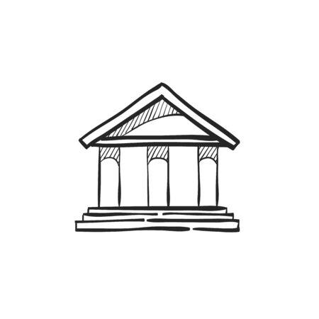 roman column: Bank building icon in doodle sketch lines.
