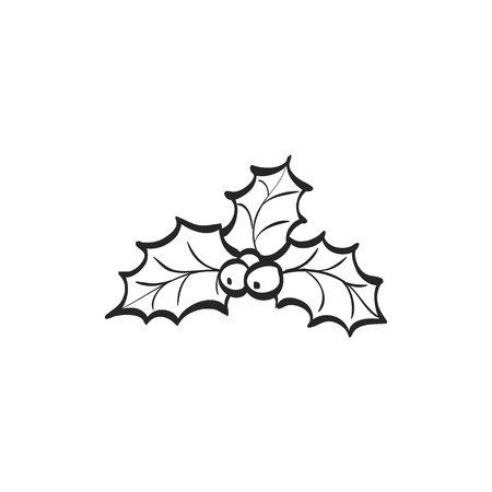 christmas decor: Holly leaves icon in doodle sketch lines. Celebration merry greeting new year Illustration