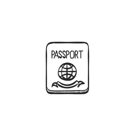line drawings: Passport icon in doodle sketch lines. Nationality identity people identify