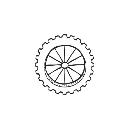 traction: Motorcycle tire icon in doodle sketch lines. Motorcycle motorbike wheel transportation offroad terrain