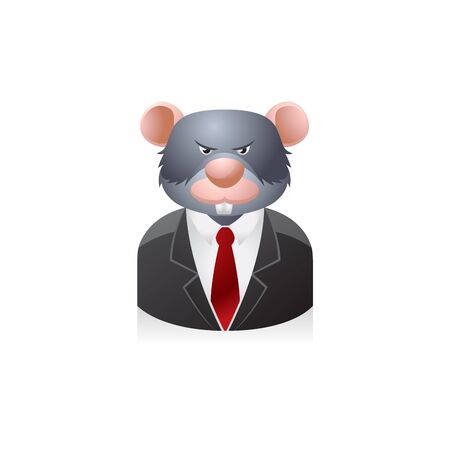 animal head: Rat businessman avatar icon in colors.