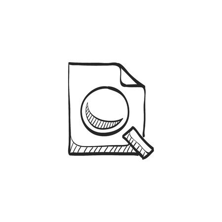 find: Magnifier icon in doodle sketch lines. Zoom explore find locate paper document files