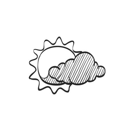 air: Weather forecast partly cloudy icon in doodle sketch lines. Meteorology overcast Illustration
