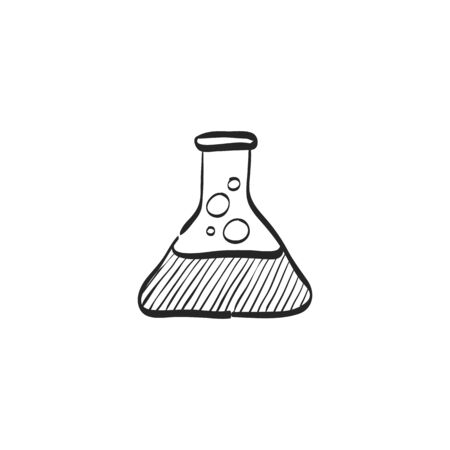 Beaker icon in doodle sketch lines. Labs research science biology chemical chemist