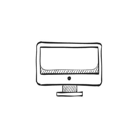 grey: Desktop computer icon in doodle sketch lines. Electronic office monitor Illustration