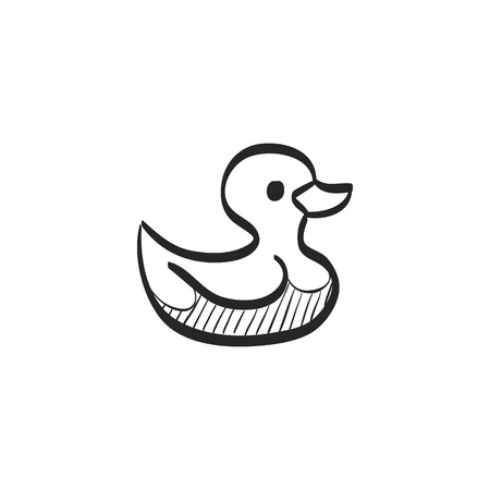 cleanliness: Rubber duck icon in doodle sketch lines. Kids bathing animal amusement yellow