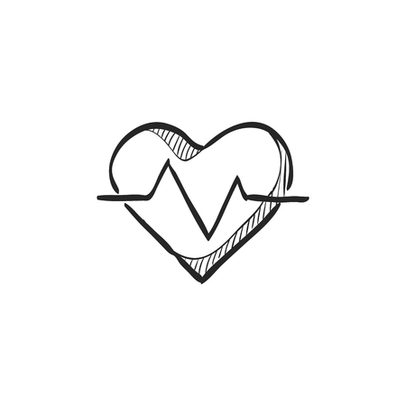 grid: Heart rate icon in doodle sketch lines. Human pulse line beep graph