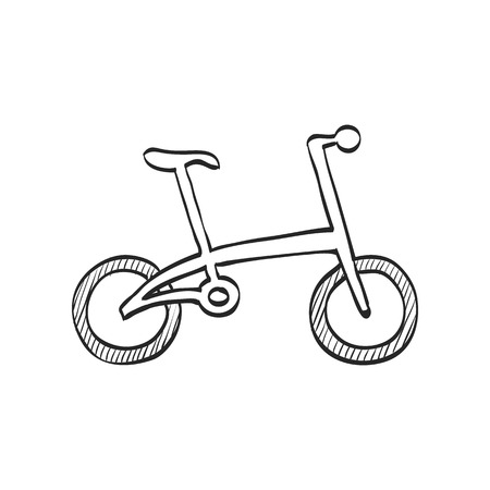 simple: Bicycle icon in doodle sketch lines. Sport cycling road city urban folding foldable working Illustration