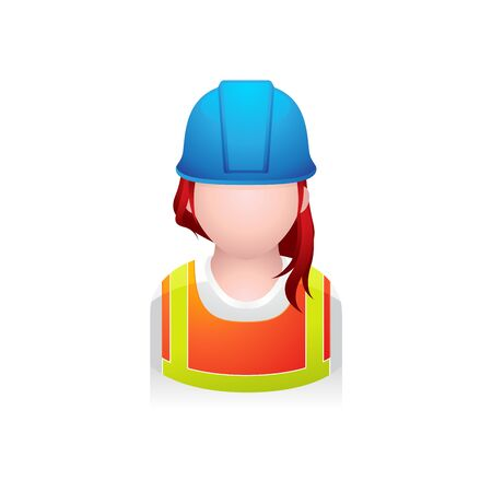 Construction worker avatar icon in colors. Illustration